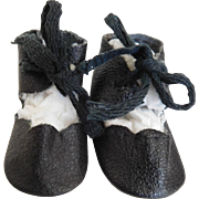 Vintage Black Oilcloth Tie Shoes for (M) Medium Doll