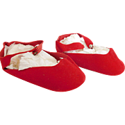 "Vintage Red Velvet 4 1/3"" Center Snap Shoes for (L) Alexander Binnie Walker etc."