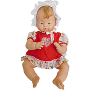 """Vintage Chubby Unmarked 17"""" All Vinyl Baby w/ Hair Tuft"""