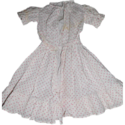 Vintage Cotton Dress White w/ Red Dots for (M) Medium Antique or Vintage Doll