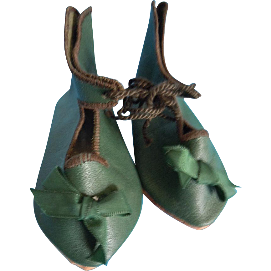 Fine Quality Green Leather Shoes for (L) Antique or Repro. French or German Doll