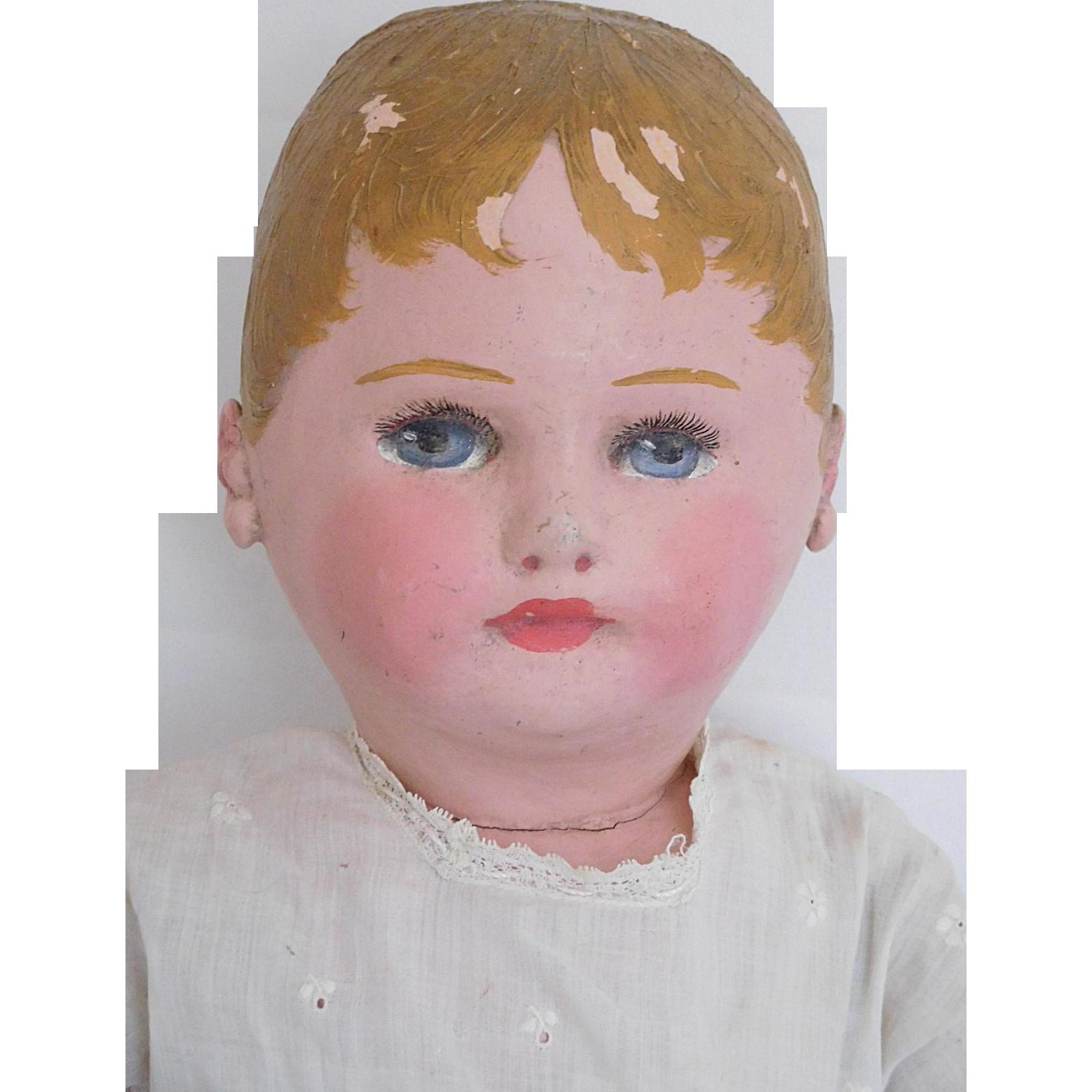 "Antique 20"" Martha Chase Hospital Doll Oil Cloth Stockinette w/ Label"