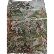 Vintage Tapestry Countryside Village, Children Dancing, Dog, Pied Pipper, Goat