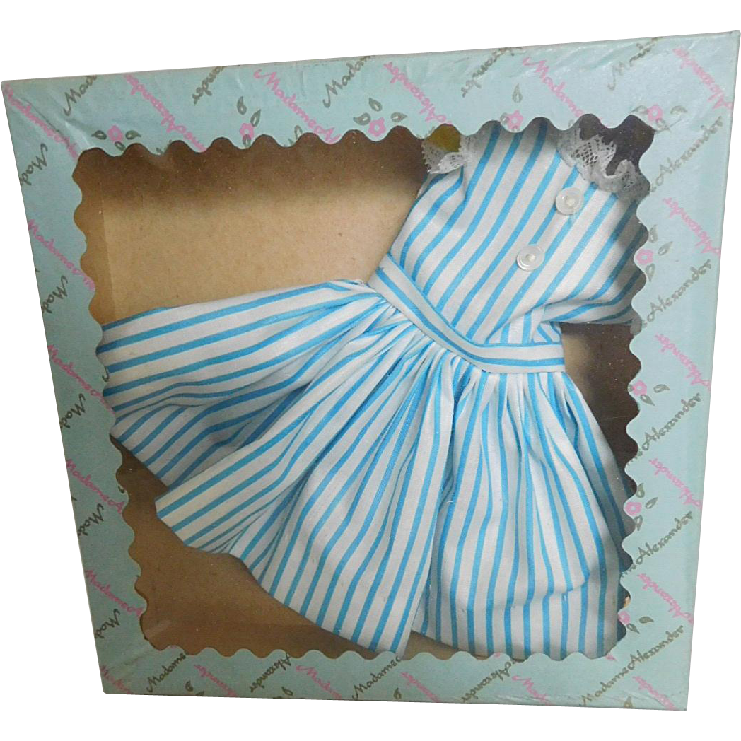 Vintage 1950's Alexander Cissette Tagged Fashion Blue & White Striped Dress MIB