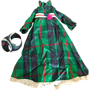 """Vintage 1970's Ideal Green Plaid Dress & Panties for 18"""" Crissy Grow Hair Doll"""