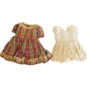 """Vintage Red Green Beige Check Dress & Onesie for 14""""-15"""" Doll"""
