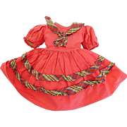 """Vintage Red Waffle Texture Dress w/Attached Panty for 14""""-15"""" Doll"""