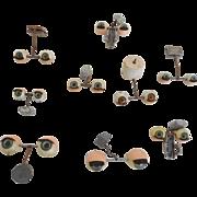 Vintage Lot of 9 Acrylic & Tin Rocker Eyes Various Sizes Doll Hospital Parts