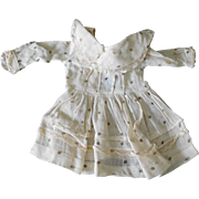 Antique Vintage Off White Dress with Brown Dots for (M) Doll