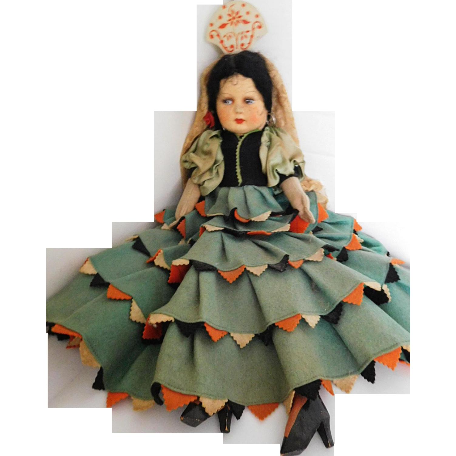 "Vintage 18"" Joao Perotti Brazil Felt Cloth Boudoir Bed Doll All Orig. w/ Labels"