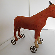 "Antique Steiff 12"" Brown Horse on Metal Wheels Pull Toy"