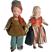 "Vintage 3.75"" All Painted Bisque DollHouse Miniature Dutch Girl, Russian Boy A/O"