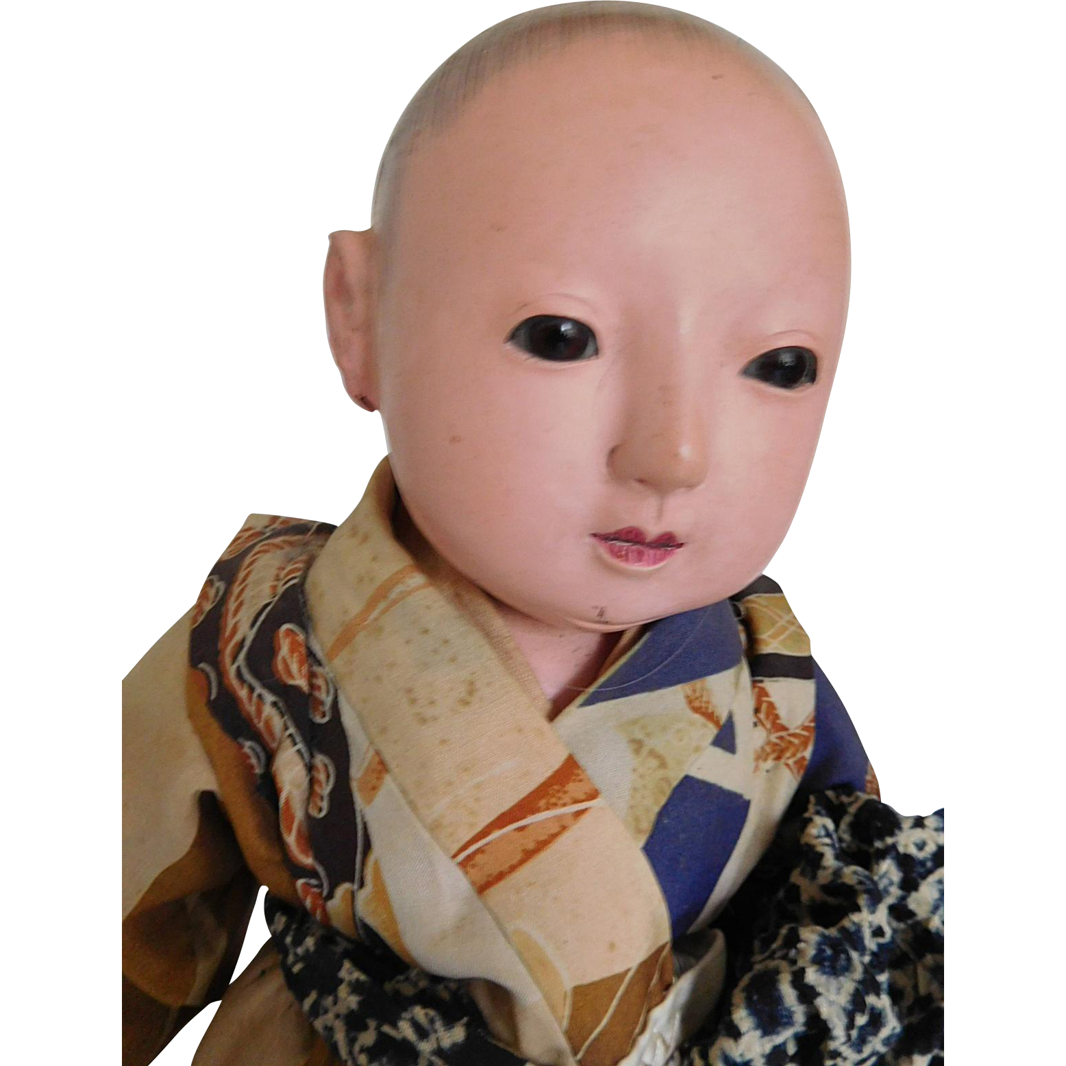 "Vintage Japan 14"" Itchimatsu Asian Gofun Boy Doll w/ Silk Kimono"