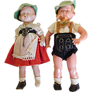 "Vintage 7"" German Celluloid Boy & Girl All Original"