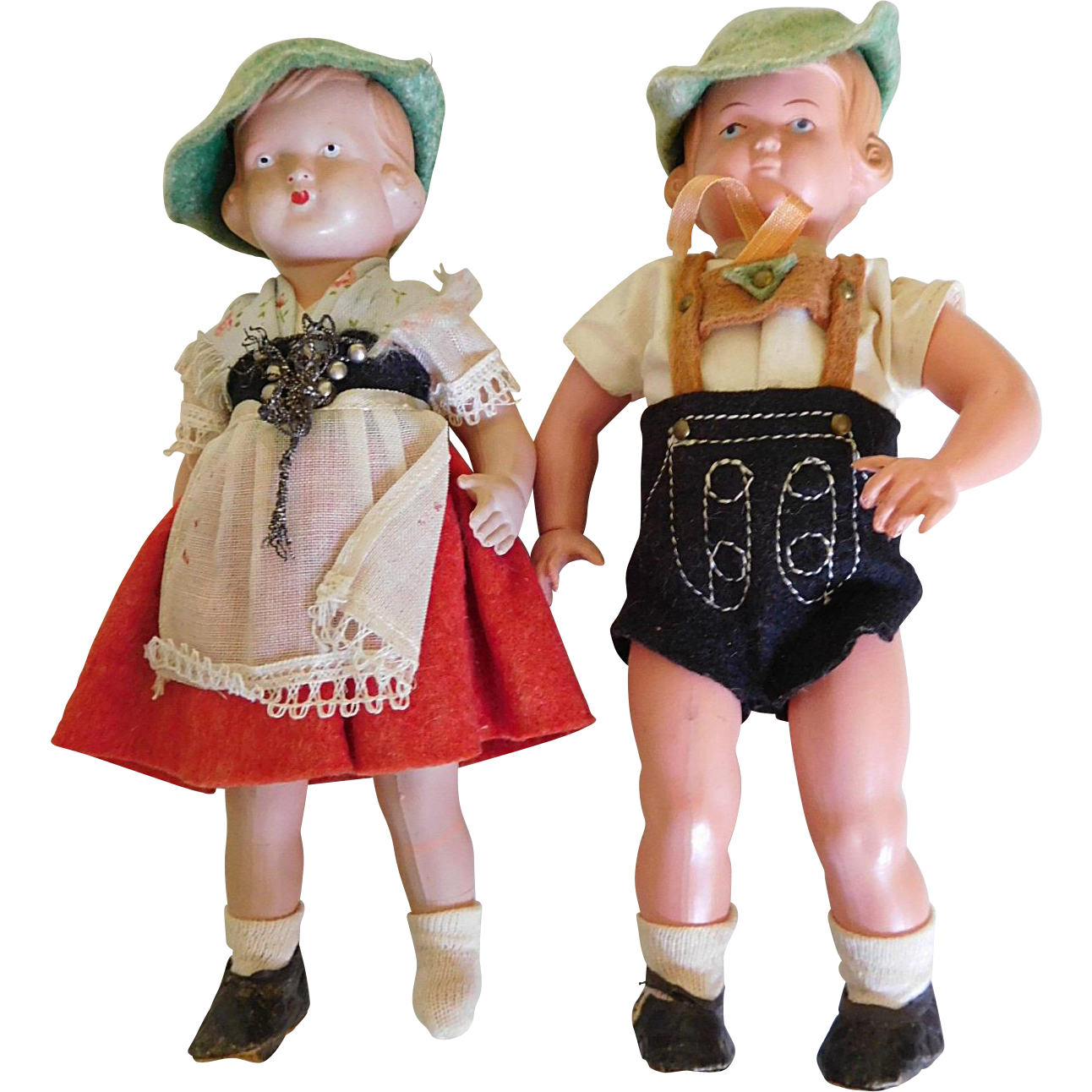 "Vintage 7"" German Celluloid Boy & Girl All Original"
