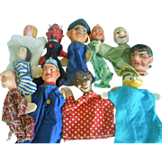 Vintage Lot of (11) Hand Puppets, Capt. Kangaroo, Devil, Happy Dwarf, Black Bozo