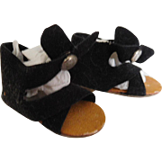 Vintage 1950's Black Suede Shoes Sandals Center Snap for Hoyer Doll etc.