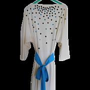 Vintage Designer Signed Alfred Shaheen Dress Size 14 Boat Neck Polka Dots