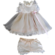 """Vintage Pink Pleated Dress, Full Slip & Panties for 15""""-16"""" Doll Shirley Temple"""
