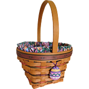 Longaberger 1996 Easter Basket w/ Easter Egg Tie On, Liner & Protector Insert