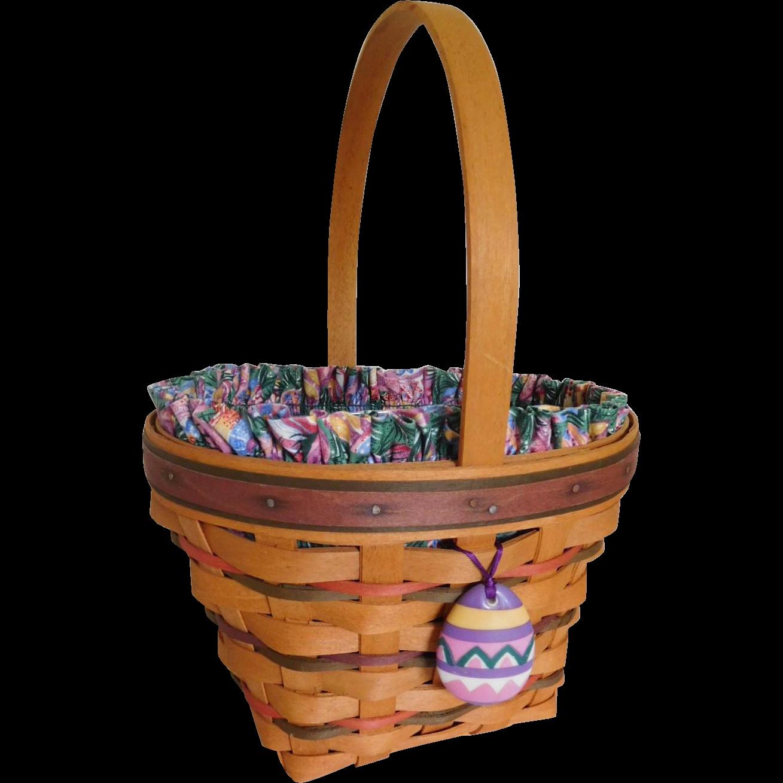Longaberger 1996 Easter Basket w/ Easter Egg Tie On, Liner & Protector Insert