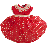 "Vintage Red & White Swiss Dot Dress for 10"" - 12"" Doll"