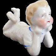"Antique German 2.25"" Glazed China Bisque Lying Baby Toddler Boy"