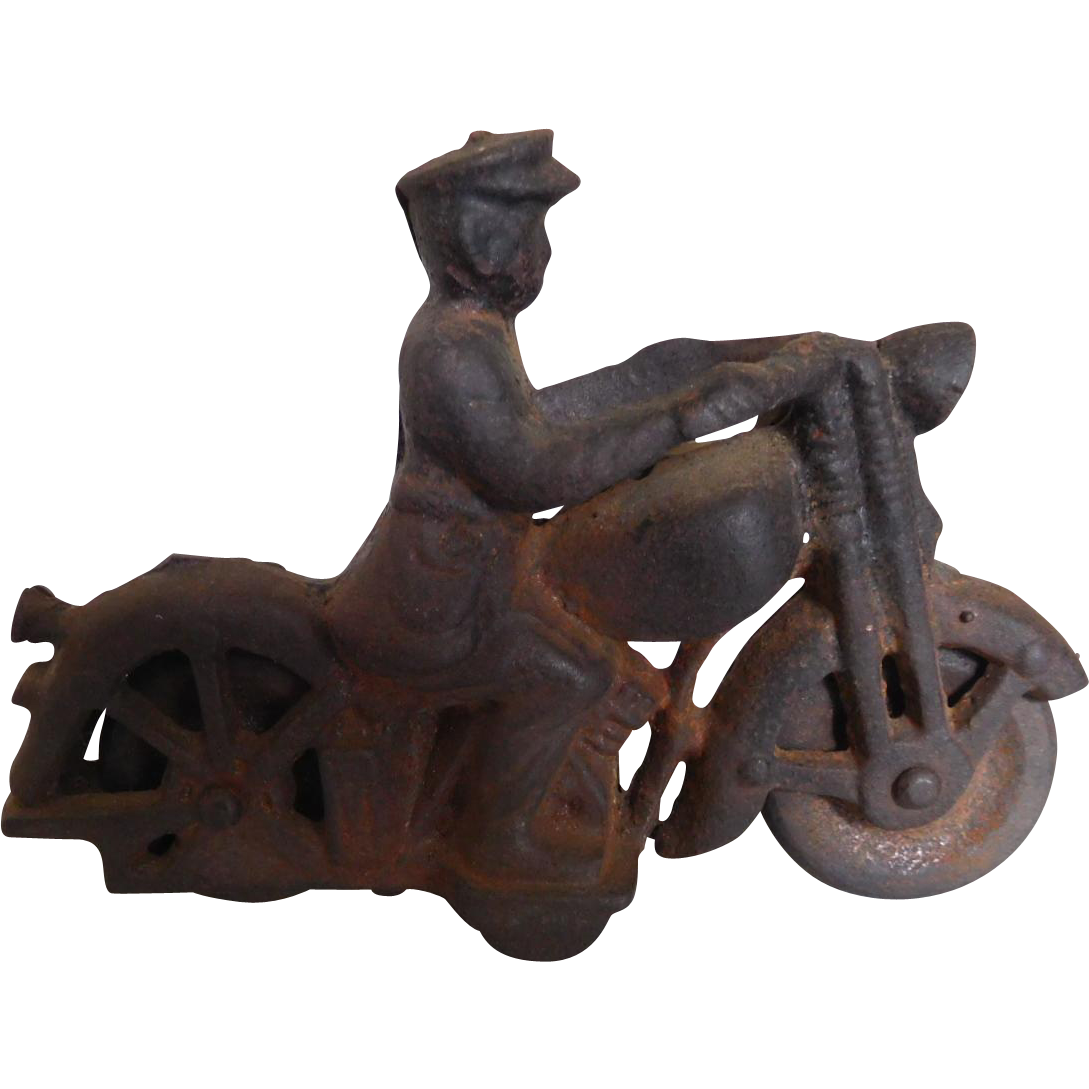 Vintage Cast Iron Motorcyle & Rider Toy Circa 1920