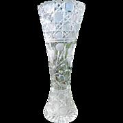 """Antique Large 14"""" Cut Glass Vase American Brilliant Period"""
