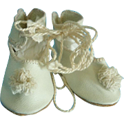 Fine Quality White Leather Shoes for (M) Antique or Repro. French or German Doll