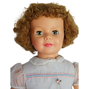 """Vintage 1960's Ideal 36"""" Patti Playpal w/ Short Curly Blonde Hair Orig. Dress"""