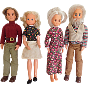 Vintage 1973 Mattel Lot of 4 Sunshine Family, Steve, Stephie, Grandma, Grandpa