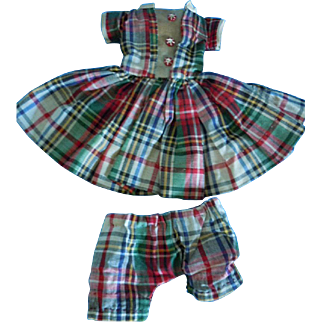 "Vintage 1950's Plaid Pleated Dress & Matching Panties for 14""-15"" Doll ie; Hoyer"