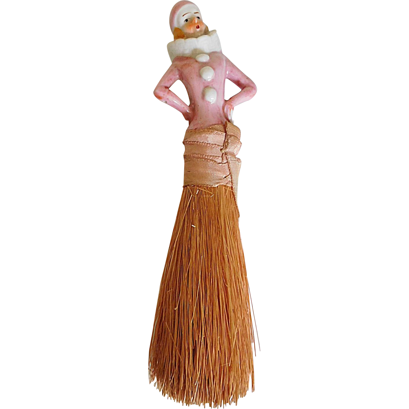 "Antique 7.5"" China Half Doll Brush Broom Pierrot Japan"