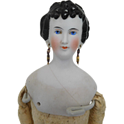 "Antique China Parian 15"" Princess Dagmar Lady w/ Pierced Ears"