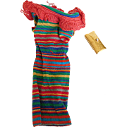 1963 Vintage Tagged Barbie Stripe Knit Dress & Gold Purse