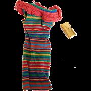 1963 Vintage Tagged Barbie Stripe Knit Dress & Gold Purse