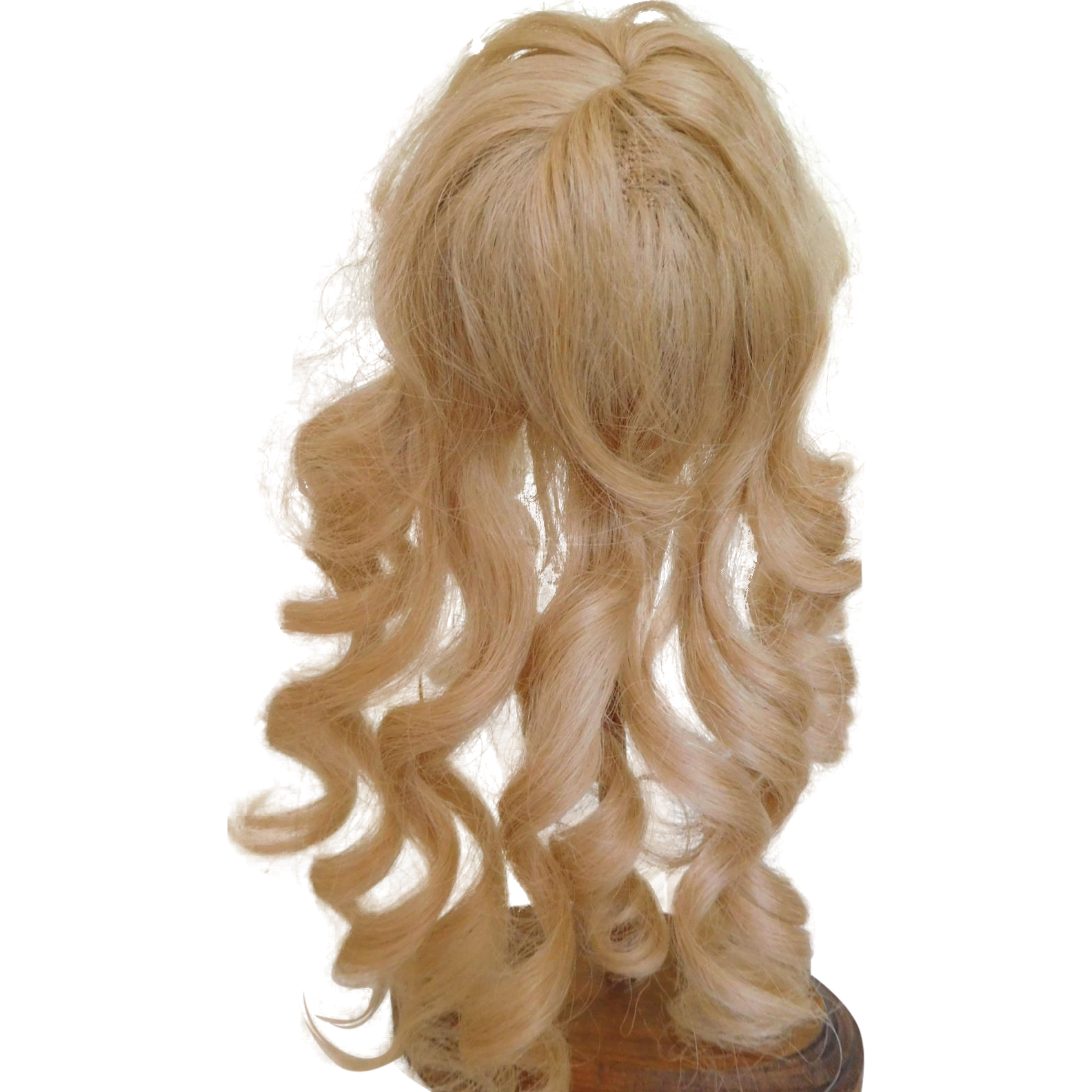French Blonde Human Hair Wig Size 9 Long Curls w/ Label
