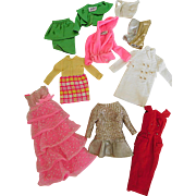 Vintage Barbie 10 Piece Lot of Clothes, Some Fixers, As Is