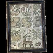 17th Century English Needlework Sampler Embroidered Spot Motifs Slips