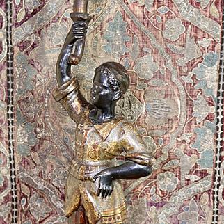 Antique Venetian Blackamoor Candle Holder Baroque Carved Wood Candlestick