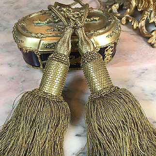 Antique French Empire Chateau Tassels Gold Metallic Tie Backs TWO