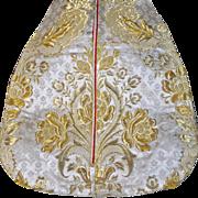 Antique Baroque Silk Brocade Gold Metallic Stumpwork Embroidery