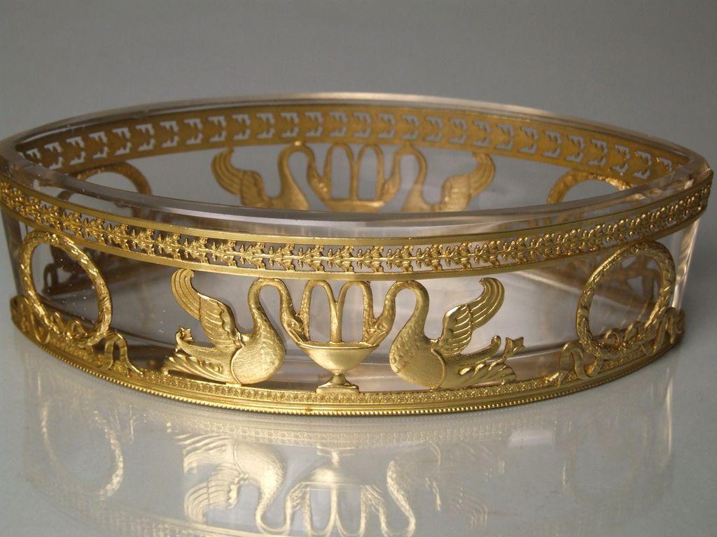 Antique french empire crystal dore bronze jardiniere for Jardiniere decorative