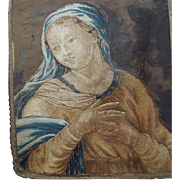RESERVED  For C.  Antique Religious Devotional Embroidery Madonna Catholic Church Needlework