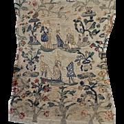 18th Century French Petit Point Needlework Tapestry Panel Figural Court Garden Scene