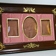 Antique French Empire Mahogany and Dore Bronze Picture Frame.