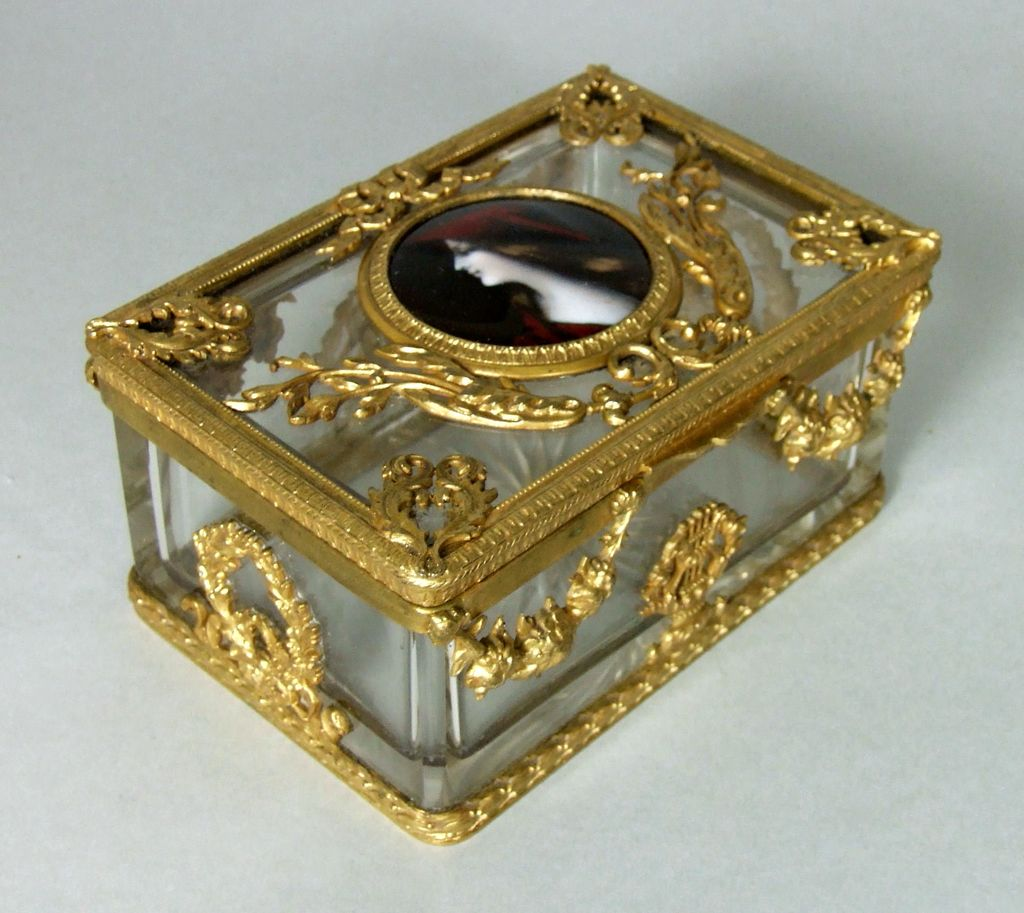 Antique French Crystal Dore Bronze Casket Enamel Plaque