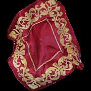 Antique French Empire Silk Applique Cover Neo Classical Textile