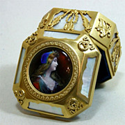 Antique French Palais Royal Casket Ormolu MOP Enamel Plaque